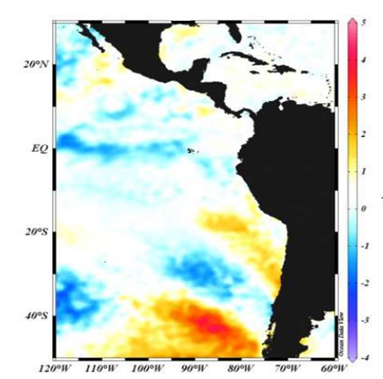 Fig. 1: Anomalías de la Temperatura superficial del mar (°C)