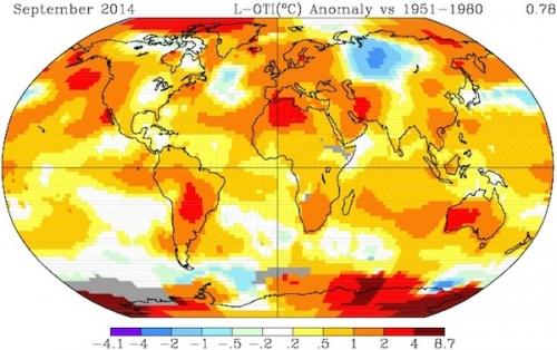 El pasado mes de septiembre ha sido el más caluroso en los registros. El 2014 pudiera ser el año récord de la historia