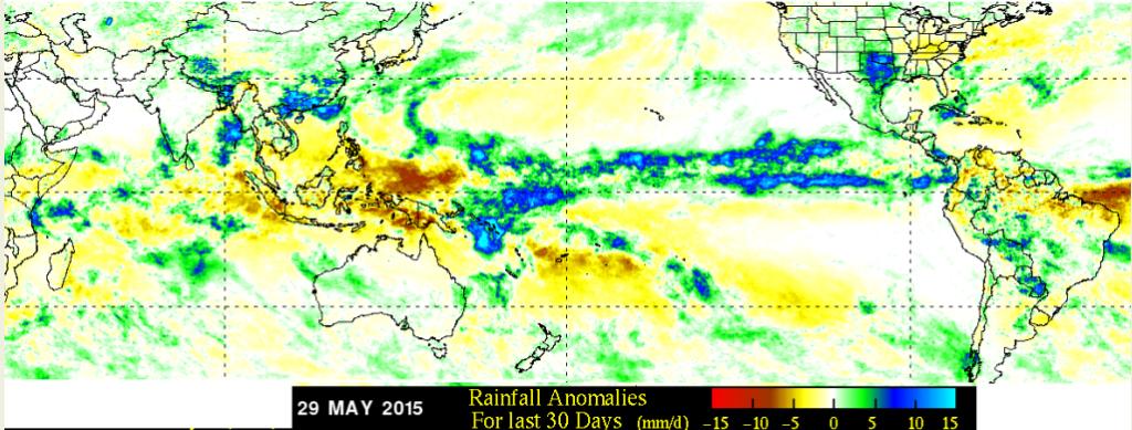 Anomalía de las precipitaciones durante mayo 2015. Fuente: NASA-TRMM
